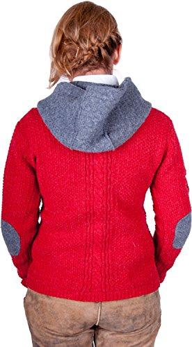Almwerk Damen Strick Jacke Antonia mit Abnehmbarer Kapuze in Verschiedenen Farben, Größe Damen:4XL - Größe 48;Farbe:Rot/Grau - 4
