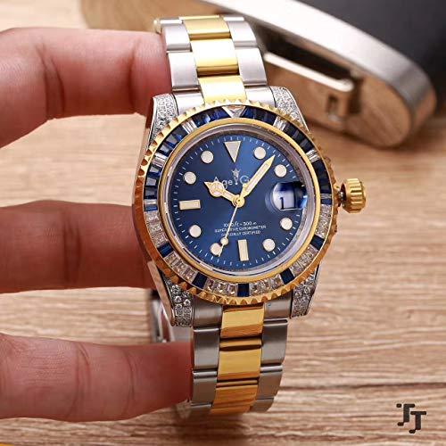 DMSGBZL Uhren Neu Herren Automatik Mechanik Silber Gelb Gold Diamanten Regenbogen Blau Grün Edelstahl Saphir Uhr Blau