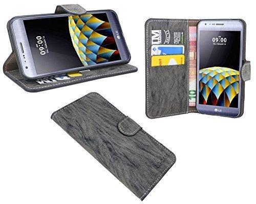 ENERGMiX Buchtasche kompatibel mit LG X CAM Hülle Case Tasche Wallet BookStyle mit Standfunktion in Anthrazit