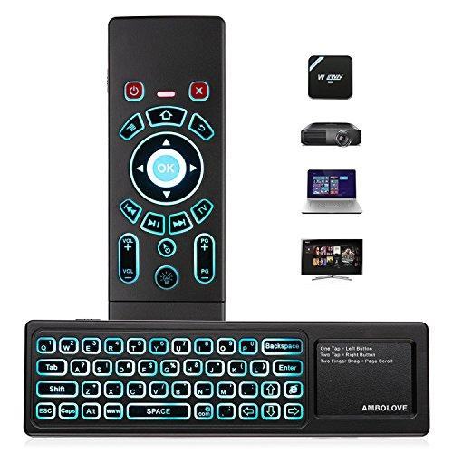 Airmouse Fernbedienung, AMBOLOVE Mini Tastatur kabellos Somatosensorisches Spiel Keyboard 2,4 G wiederaufladbare Air Maus Combo mit Touchpad und 7 Farb-LED Backlits für Smart TV, HTPC, IPTV, Android TV Box Iptv-fernbedienung