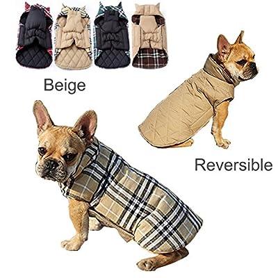 IREENUO Dog Reversible Plaid Coat Autumn Winter Warm Cozy Waistcoat British Style Dog Padded Jacket for Small Medium Dogs (XL, Beige)