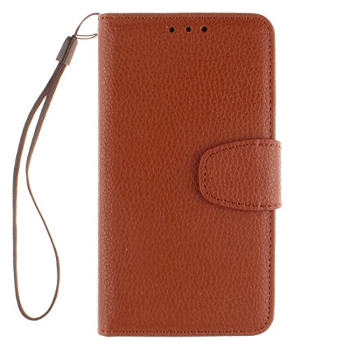 Für Samsung Galaxy J1 (2016) Litchi Textur Horizontale Flip PU Leder Cover Case mit Halter & Card Slots & Wallet & Photo Frame & Lanyard by diebelleu ( Color : Black ) Brown