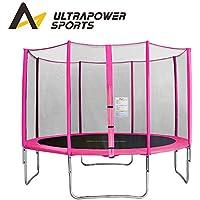 Preisvergleich für ULTRAPOWER SPORTS Trampolin mit Sicherheitsnetz, Komplett-Set inkl Leiter und Randabdeckung Gartentrampolin 244, 305cm - Rosa