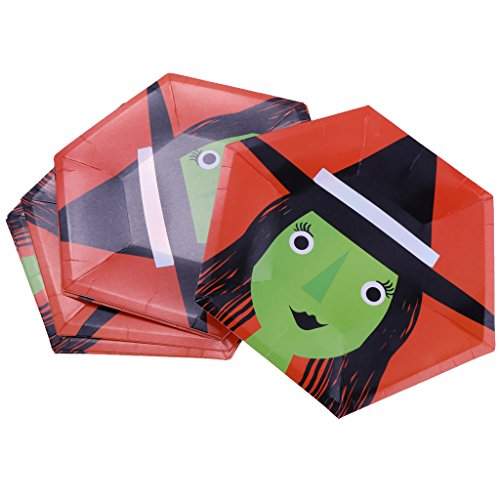 een Hexagon Pappteller Party Geschirr Dekor DIY - Hexe, 10 Zoll (Halloween Dekor Hexen)