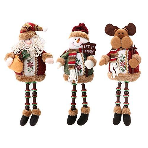 Forepin® 3 x Regali di Natale Morbidi Peluche Bambola di Natale Decorazioni Casa Ornaments Regalo di Compleanno di Xmas 32cm * 13cm (Babbo Natale + Pupazzo di Neve + Alce)