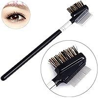 Cepillo de pestañas peine de cejas pinceles de maquillaje de acero dientes de doble cara herramientas de maquillaje