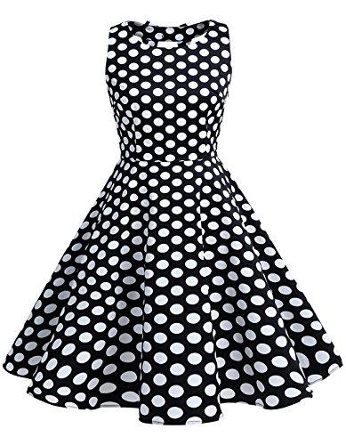 BeryLove Frauen Vintag 50s Polka Dot Bowknot Rockabilly Kleid Swing Kleid BLV8001 BlackWhiteDot 3XL