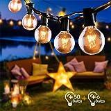 Guirlande Lumineuse Intérieure et Extérieure, FOCHEA 15M Guirlande Guinguette Raccordable Ultra-longue 50 Ampoules avec 6 Ampoules de Rechange pour Fête Jardin Mariage Patio Terrasse