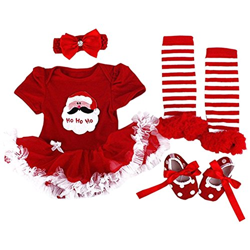 Christmas Party Baby Girl Clothes Christmas Dress Xmas Fancy Dresses 4 Pieces Outfits (Kleid Holiday Christmas Floral)