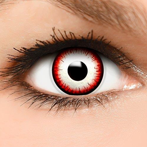 Farbige Kontaktlinsen Undead Zombie in schwarz rot weiß + Behälter - Top Linsenfinder Markenqualität, 1Paar (2 Stück)