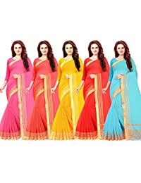 Vashtram Women SuperNet/Cotton Saree with blouse piece (CT0055_Multi-Coloured_Free Size_Pack Of 5)