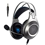 NUBWO Gaming Headset, N2 Stereo Wired PC Gaming Headset mit Rauschunterdrückungsmikrofon, Over-Ear Kopfhörer für PC, MAC, Playstation 4, Xbox One, Android und iPhone-Silver