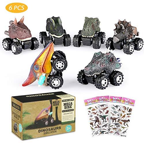 joylink Dinosaurier-Autos, 6-Pack Cars Spielzeug mit großem Reifenrad für 3-14 jährige Jungen-Mädchen-kreative Geschenke