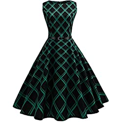 K-youth® Estampado Enrejado Vintage Hepburn Style Vestido Mujer Bohemia Tunic Swing Maxi Vestido moda mujer sin manga casual vestido de fiesta de noche 2018 oferta (Verde, M)