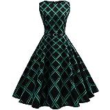 K-youth® Estampado Enrejado Vintage Hepburn Style Vestido Mujer Bohemia Tunic Swing Maxi Vestido moda mujer sin manga casual vestido de fiesta de noche 2018 oferta (Verde, XXL)