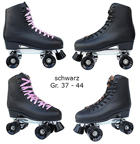 Echtleder Rollschuhe / Discoroller schwarz mit Stopper Gr. 37 - 44 in Top Qualität (schwarz - 39) -