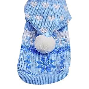 Pull Chien Angelof Pull à Capuche En Tricot Chien Pet Chat Chiot Bleu Manteau Petit Chien De Compagnie VêTements Chauds Costume