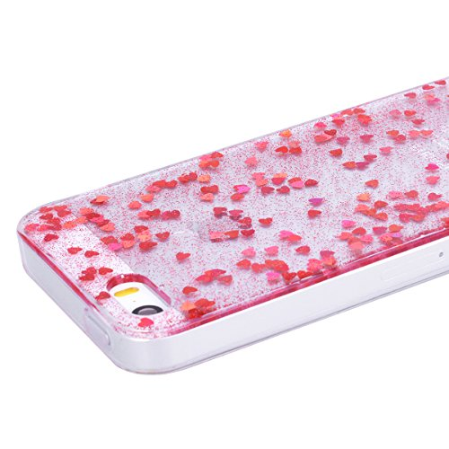 WE LOVE CASE iPhone 5S / 5 / SE Cover Trasparente Glitter Amare Liquido Viola iPhone 5S / 5 / SE Custodia Case Silicone Soft Flessibile Elegant Belle Protettiva , Antiurto Ultraslim Bumper , TPU Gel G red