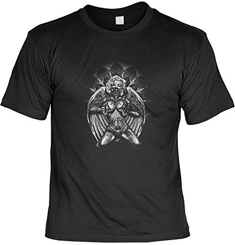 Marylin Shirt /T-Shirt/Baumwoll-Shirt lässiger Monroe-Aufdruck: Guns - cooles Motiv Schwarz