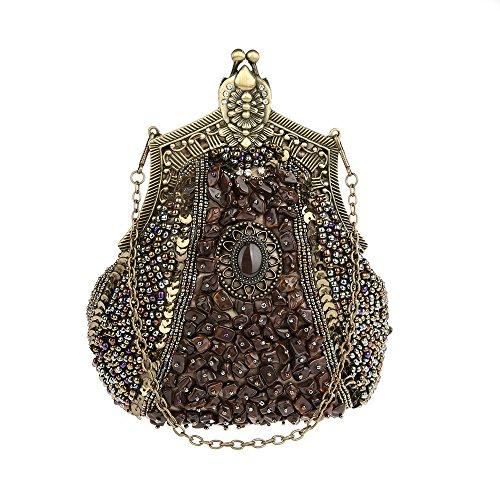 KAXIDY Damen Samen-Perlen Abendtasche Hochzeit Bead-hand-knit Abschlussball Party-Abend Handtasche (Bronze) (Bronze-abend Handtasche)