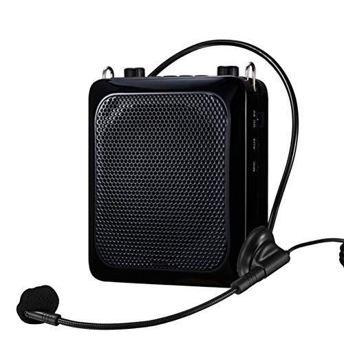 QIA Sprachverstärker mit 3,5-Zoll-Doppelschwingspule Starkes magnetisches Horn für Lehrer/Ausbildung/Konferenzunterstützung Aufnahme von TF-Karten/Audio im MP3-Format,Black