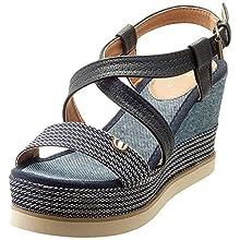 Tom Tailor 8094301, Sandali con Cinturino alla Caviglia Donna, Blu (Navy 00003), 40 EU