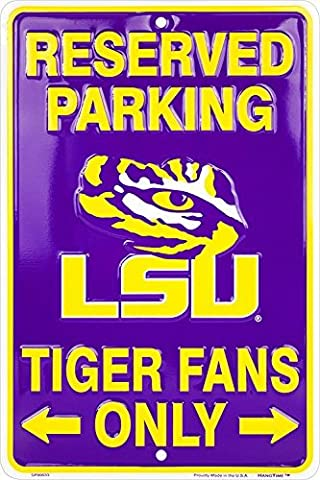 LSU Tiger Fans Reserved Parking Sign Metal 8 x 12 embossed by Tag City