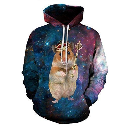GEFANENR Paare Männer Frauen 3D Grafik Print Hoodie Pullover Sweatshirt Jacke Pullover Top Crown Hamster, Stil, 2XL - Crown Hoodie