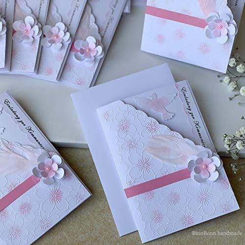 10 personalisierte Einladungskarten Taufeinladungen Taufkarten Einladung zur Taufe Kommunion Konfirmation Firmung Taube Blumen Feder rosa Handarbeit binnbonn