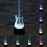 3d Illusion Guitarra electrica Lámpara luces de la noche ajustable 7 colores LED 3d Creative Interruptor táctil estéreo visual atmósfera mesa regalo para Navidad