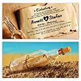 10 x Hochzeitseinladungen silberne Hochzeit Silberhochzeit Einladungen individuell - Flaschenpost Motiv