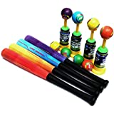 Wembley Toys High Quality Soft PU Base Ball, Bat And Pitcher. Set Of Two Balls - Multi Color