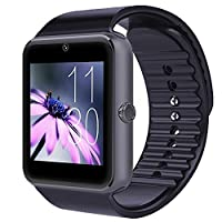YarrashopŽ Bluetooth Smart Watch Wristwatch with Camera SIM Card Slot Smart Phone Watch for Andriod Samsung HTC Sony and Other Android Smartphones Bracelet Smartwatch(Gun Black)