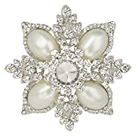Ever Faith - Joli Fleur Couleur ivoire Perle Artificielle Cristal Autrichien Transparent Broche Pendentif A11403-1