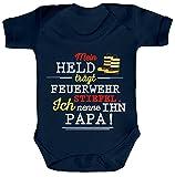Vatertag Feuerwehr Strampler Bio Baumwoll Baby Body kurzarm Papa - Mein Held trägt Feuerwehrstiefel, Größe: 0-3 Monate,Nautical Navy