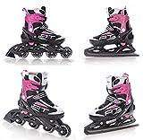 2in1 Schlittschuhe Inline Skates Inliner Raven Profession Black/Pink verstellbar