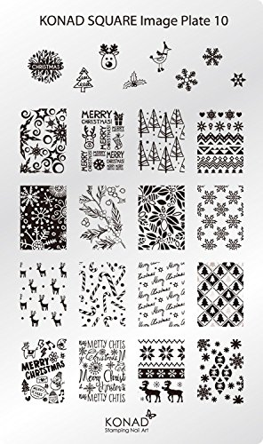 Original KONAD Stamping Square Image Schablone Plate 10 Nailart Christmas Weihnachten Schnee Winter X-Mas - Platten Konad Set