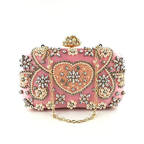Taschen Mädchen Wind Handgefertigten Perlen Strass Dinner Bag Kleid Party Handtaschen Umhängetasche Abend Kupplungen Geldbörsen Griff Tasche ()