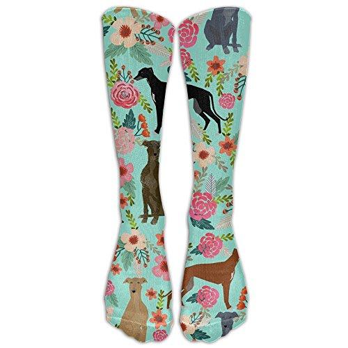 GOGO Greyhound Floral Cute Dog Mint Vintage Kniestrümpfe für Damen und Herren - Beste medizinische Socken für Stillen, Reisen und Flugreisen - Laufen und Fitness, Unisex Jungen Damen, weiß, One Size -