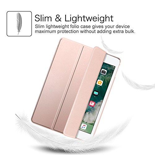 Fintie iPad 9.7 Zoll 2017 Hülle – Ultra Slim Superleicht Schutzhülle mit transparenter Rückseite Abdeckung Smart Case mit Auto Schlaf / Wach Funktion für Apple iPad 2017 Neue Modell, Roségold - 4