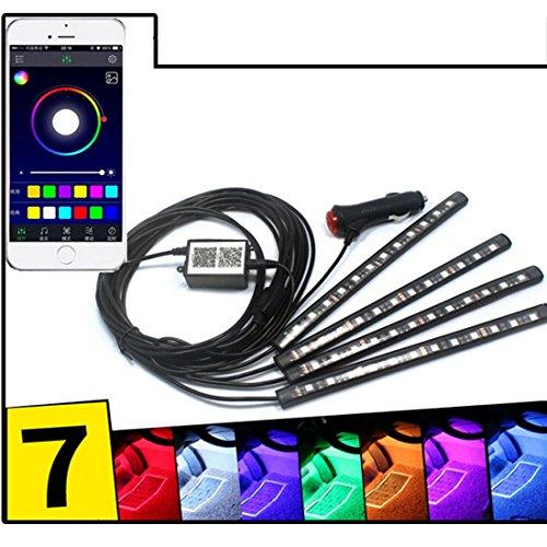 Preisvergleich Produktbild 4-Stück Multicolor LED Innenraum Underdash Lighting KitBy APP Bluetooth Controller für iPhone Android