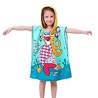 Gagacity Children Kids Cartoon Beachwear Poncho with Cartoon Pattern Blue Mermaid