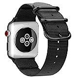 Fintie Armband für Apple Watch 44mm 42mm Series 4/3/2/1 - Premium Nylon atmungsaktive Sport Uhrenarmband verstellbares Ersatzband mit Edelstahlschnallen, Schwarz