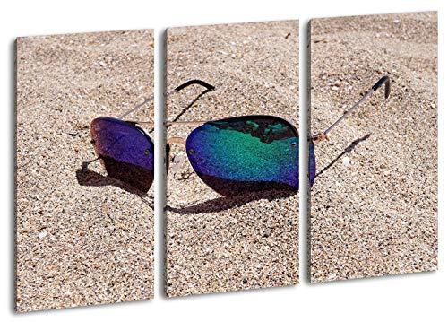 deyoli sandiger Blick durch die Sonnenbrille Format: 3-teilig 120x80 als Leinwand, Motiv fertig gerahmt auf Echtholzrahmen, Hochwertiger Digitaldruck mit Rahmen, Kein Poster oder Plakat