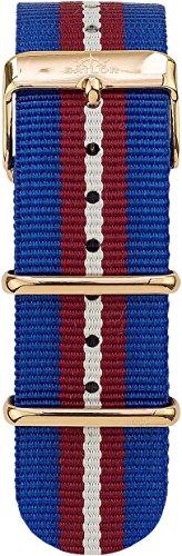 Sailor Damen Herren Nylon Armband Costa blau-rot-weiß BSL101-2006-20, Breite Armband:20mm (normal), Farbe Edelstahl:Rosègold