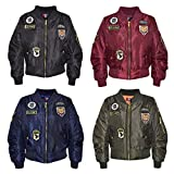 A2Z 4 Kids® Kids Jacket Girls Boys Badges Print Bomber Padded Zip Up Biker Jacktes MA 1 Coat Age 3 4 5 6 7 8 9 10 11 12 13 Years