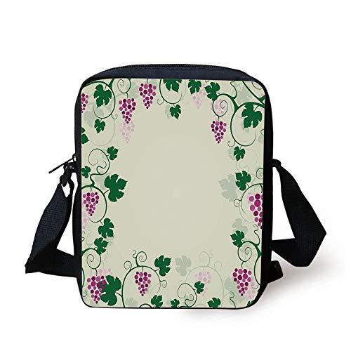 ramework Fruit Garden Curvy Branches Leaves Vintage Illustration,Pink Purple Green Print Kids Crossbody Messenger Bag Purse ()