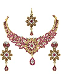 Spargz Floral Gold Plated Bollywood Purple AD Stone Fashion Bridal Jewellery Necklace Set For Women AINS_300