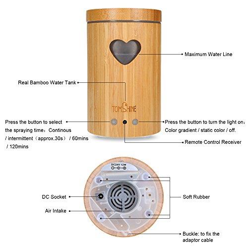 Tomshine 160LM Bambus Luftbefeuchter Holzmasserung Aroma Diffusor Humidifier mit Fernbedienung 7 Lichtfarben, Niedrigwasserschutz,4 Zeiteinstellung für Yoga Kinderzimmer Schlafzimmer Krankenhaus Büro - 3