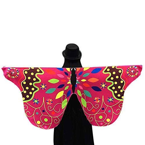 Mitternacht Kostüm Braut - QIMANZI Damen Frauen Butterfly Wings Schmetterlingsflügel Schals Nymph Pixie Ponch Für Bauchtanz Tanz Schleier Flügel Zubehör Tanzen Kostüm Bauchtanz Fasching Karneval(Pink)